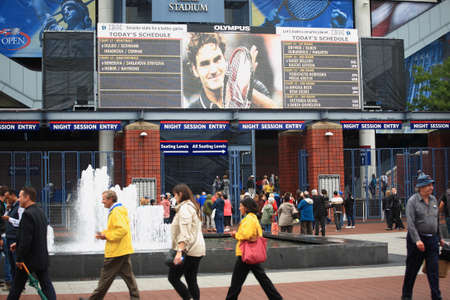 billie: New York - September 7, 2011: Grounds of the USTA Billie Jean King National Tennis Center during the 2011 US Open. Scoreboard is attached to Arthur Ashe Stadium.