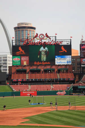 baseball stadium: St. Louis, September 18, 2010: Fans gather for a late season Cardinals game at Busch Stadium.