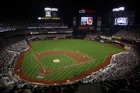 scoreboard: New York - July 15, 2011: Citi Field, home of the National League Mets during a night game.