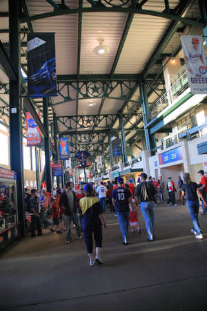 fort worth: Arlington, Texas - September 27, 2010: Fans and concourse at Texas Rangers Ballpark In Arlington, home of the playoff bound Rangers.