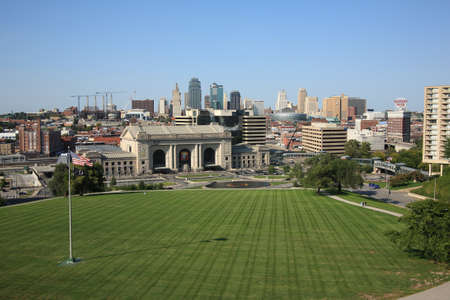 Kansas City - September 27, 2009: Union Station and the city skyline in Kansas City, Missouri.
