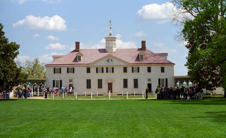 Mount Vernon, Virginia - April 28, 2005: Tourists line up at Mt. Vernon, historic estate of founding father George Washington.