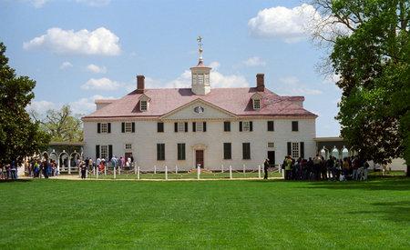 Mount Vernon, Virginia - April 28, 2005: Tourists line up at Mt. Vernon, historic estate of founding father George Washington.