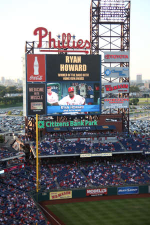 Philadelphia, September 1, 2009: Star home run hitter Ryan Howard displayed on the scoreboard at Citizens Bank Park, the Phillies home ballpark.