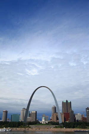 St. Louis, Missouri - September 26, 2009: View of St. Louis and the historic Gateway Arch in Missouri, from across the Mississippi River in Illinois.