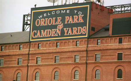 orioles: Baltimore, Maryland - July 22, 2003: Warehouse at Oriole Park at Camden Yards. The Orioles baseball home opened in 1992 at a cost of $110 million.