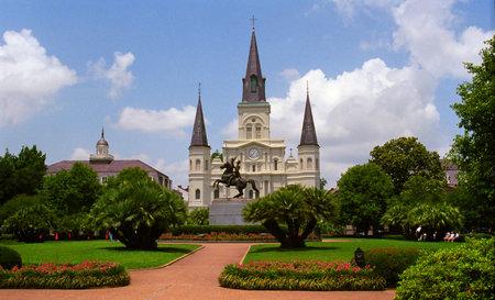 Andrew Jackson standbeeld in Jackson Square, New Orleans, Louisiana Redactioneel