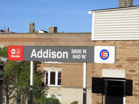 Chicago, Illinois - April 26, 2010: The Addison Street transit stop for Wrigley Field, home of the Cubs.