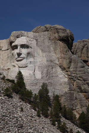Lincoln on Mount Rushmore - Close up of Abraham Lincoln at Mt  Rushmore in South Dakota