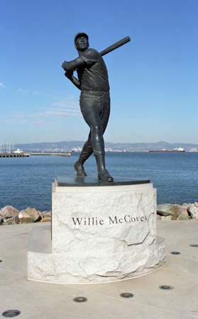 San Francisco, California - September 20, 2007: Willey McCovey statue ar AT&T Park, home of the Giants and located on the bay.