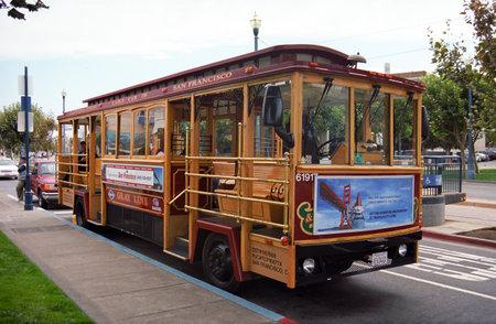 San Francisco, California - September 20, 2007: Famous Cable Car Bus near Fishermans Wharf.
