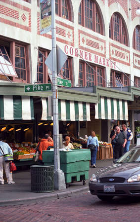 Seattle, Washington - September 15, 2007: Pike Place Market streetcorner.