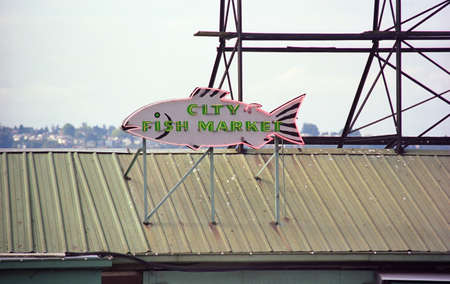 Seattle, Washington - September 15, 2007: Pike Place Market neon sign.