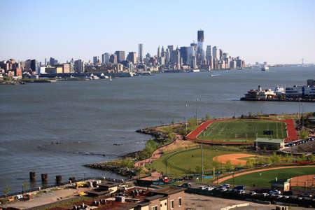 Weehawkin, New Jersey - April 29, 2012: Waterfront Park and Recreation Center with the New York City Skyline.