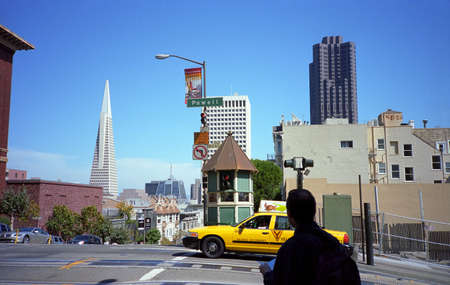 San Francisco, California - September 21, 2007: Sightseeing in San Francisco, including the famous hills and the Transamerica Pyramid. Stock Photo - 13512206