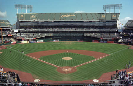 Oakland, California - September 19, 2007: The Oakland Coliseum, home of the Athletics, before a day baseball game.