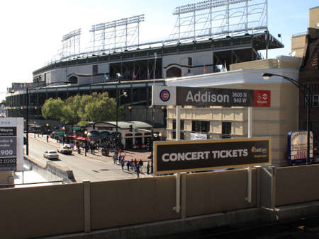 Chicago, Illinois - April 26, 2010: Addison Street transit stop for Wrigley Field, home of the Cubs.