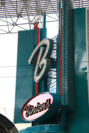 Las Vegas, Nevada - September 17, 2008: Neon sign for classic downtown Fremont Street Binion's Hotel and Casino.