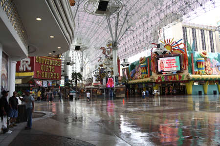Las Vegas, Nevada - September 17, 2008: Tourists and gamblers walk the Fremont Street Experience downtown.