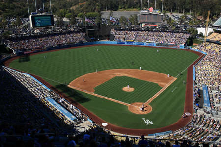 Los Angeles - June 30, 2012: A sunny day baseball game at Dodger Stadium. The New York Mets defeated the Dodgers 5 - 0.