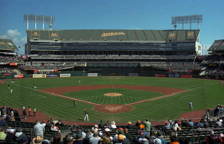 Oakland, California - September 19, 2007: The Oakland Coliseum, home of the Athletics, before a day baseball game. Stock Photo - 14720928