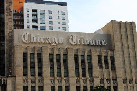 Chicago - June 18, 2012: Tribune Building on Michigan Avenue, home of the Chicago Tribune newspaper.