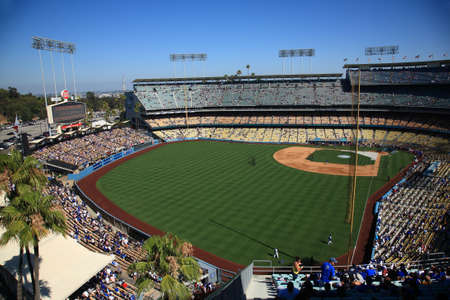 outfield: Los Angeles - July 1, 2012: A sunny day baseball game at Dodger Stadium. Outfield view of Dodgers ballpark.. Editorial