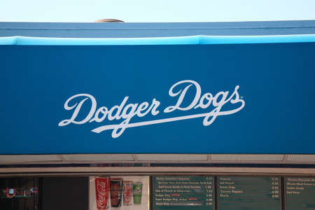 Los Angeles - July 1, 2012: Famous Los Angeles Dodger Dog hot dog concession at the stadium.