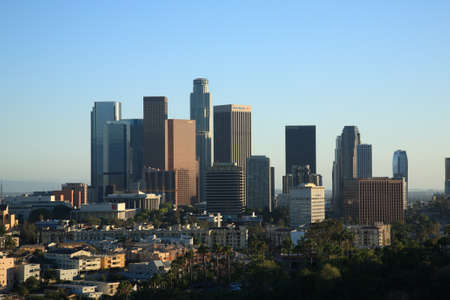 los angeles: Los Angeles - June 30, 2012: Downtown California city skyline with business names.