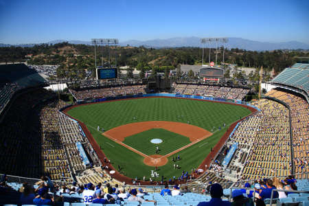 pitchers mound: Los Angeles - June 30, 2012: A sunny day baseball game at Dodger Stadium.