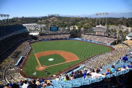 Los Angeles - June 30, 2012: A sunny day Dodgers baseball game at Dodger Stadium. Stock Photo - 14817290