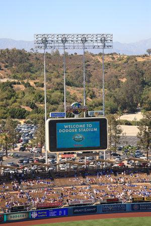 Los Angeles - June 30, 2012: Scoreboard at a Dodgers baseball game at Dodger Stadium.