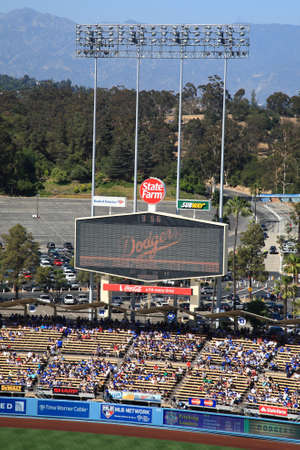 dodgers: Los Angeles - June 30, 2012: Scoreboard at a Dodgers baseball game at Dodger Stadium.