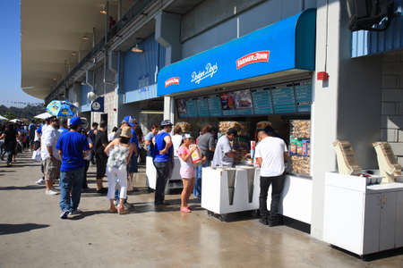 concession: Los Angeles - July 1, 2012: Dodger Stadium concession stand during a Dodgers baseball game..