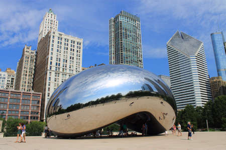 Chicago - June 18, 2012: Chicago Cloud Gate sculpture in Millennium Park, known as the Bean.