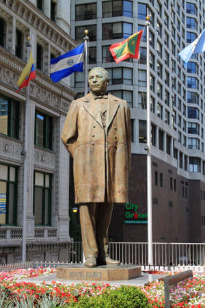 president of mexico: Chicago - June 18, 2012: Statue of Benito Juárez, former President of Mexico.