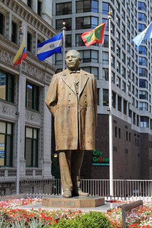 president: Chicago - June 18, 2012: Statue of Benito Juárez, former President of Mexico.