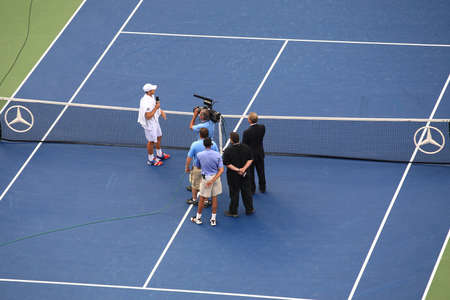 New York - September 5, 2012: American Andy Roddick addresses the crowd after the fianl match of his career, at the 2012 US Open Tennis Championship. Sajtókép