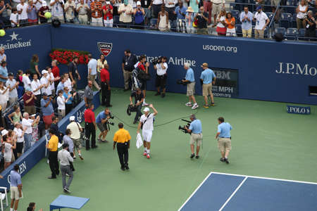 New York - September 5, 2012: American Andy Roddick waves to  the crowd after the fianl match of his career, at the 2012 US Open Tennis Championship. Sajtókép