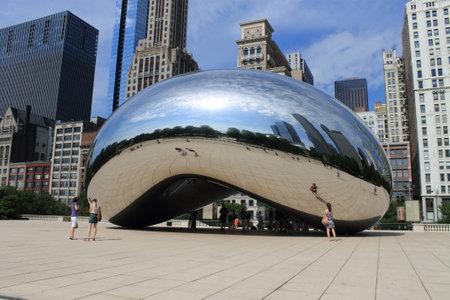 millennium: Chicago - June 18, 2012: Chicago Cloud Gate sculpture in Millennium Park, known as the Bean.