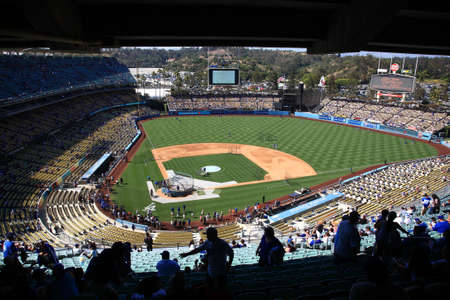 Los Angeles - July 1, 2012: Batting practice before a Dodgers baseball game at Dodger Stadium, with fans.. Stock Photo - 15318910