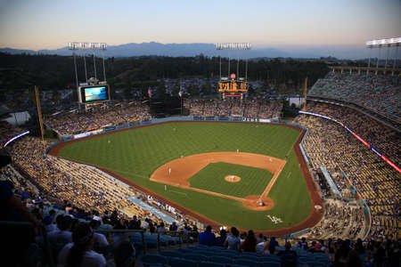 Los Angeles - July 1, 2012: A Dodgers baseball game at Dodger Stadium. Stock Photo - 18330163