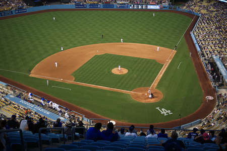 Los Angeles - July 1, 2012: A Dodgers baseball game at Dodger Stadium. Stock Photo - 18330166