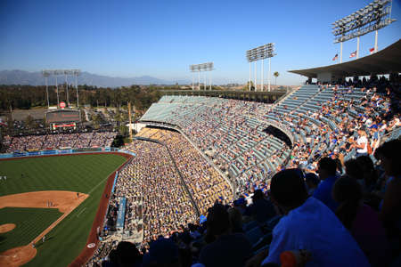 Los Angeles - June 30, 2012: A sunny day Dodgers baseball game at Dodger Stadium. Stock Photo - 18330162