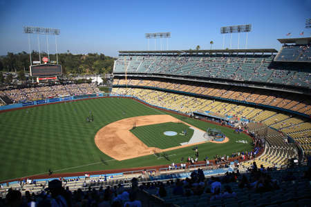Los Angeles - July 1, 2012: Batting practice before a Dodgers baseball game at Dodger Stadium. Stock Photo - 18537083