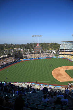 Los Angeles - July 1, 2012: Batting practice before a Dodgers baseball game at Dodger Stadium. Stock Photo - 18537080