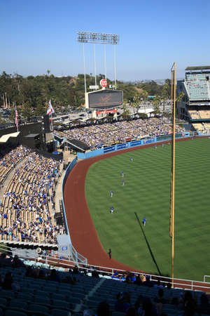 Los Angeles - July 1, 2012: Batting practice before a Dodgers baseball game at Dodger Stadium. Stock Photo - 18537081