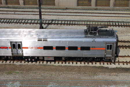 Chicago - June 18, 2012: Chicago Train - South Shore Line NICTD passenger train in Millenium Station.