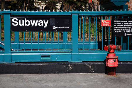 new classic: New York City Subway. Iconic street level platform at Manhattan subway stop.  Editorial