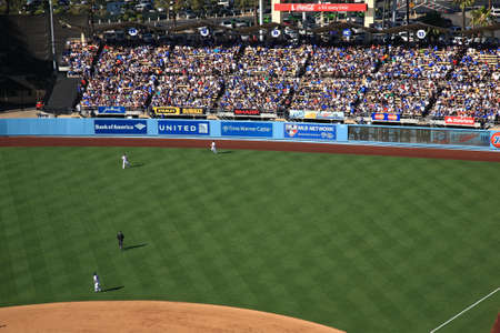 outfield: Los Angeles - June 30, 2012: Outfield and bleachers at a Dodgers baseball game at Dodger Stadium.
